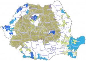 Harta Romaniei cu zonele in care se fac plati exclusiv pe AXA II din PNDR 2007-2013